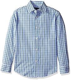 Tommy Hilfiger Boys\' Alternating Gingham Shirt, Medium Blue, 16