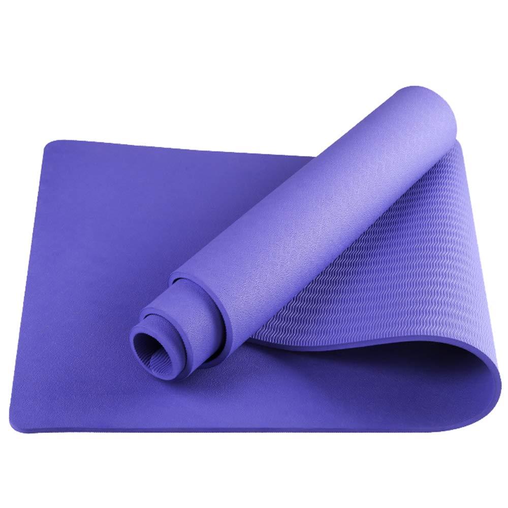 ヨガマット素材TPE高密度エコロジーおよび無味滑り止めバウンス、ソフトで快適、フィットネスマット  purple B07Q1NRTWZ