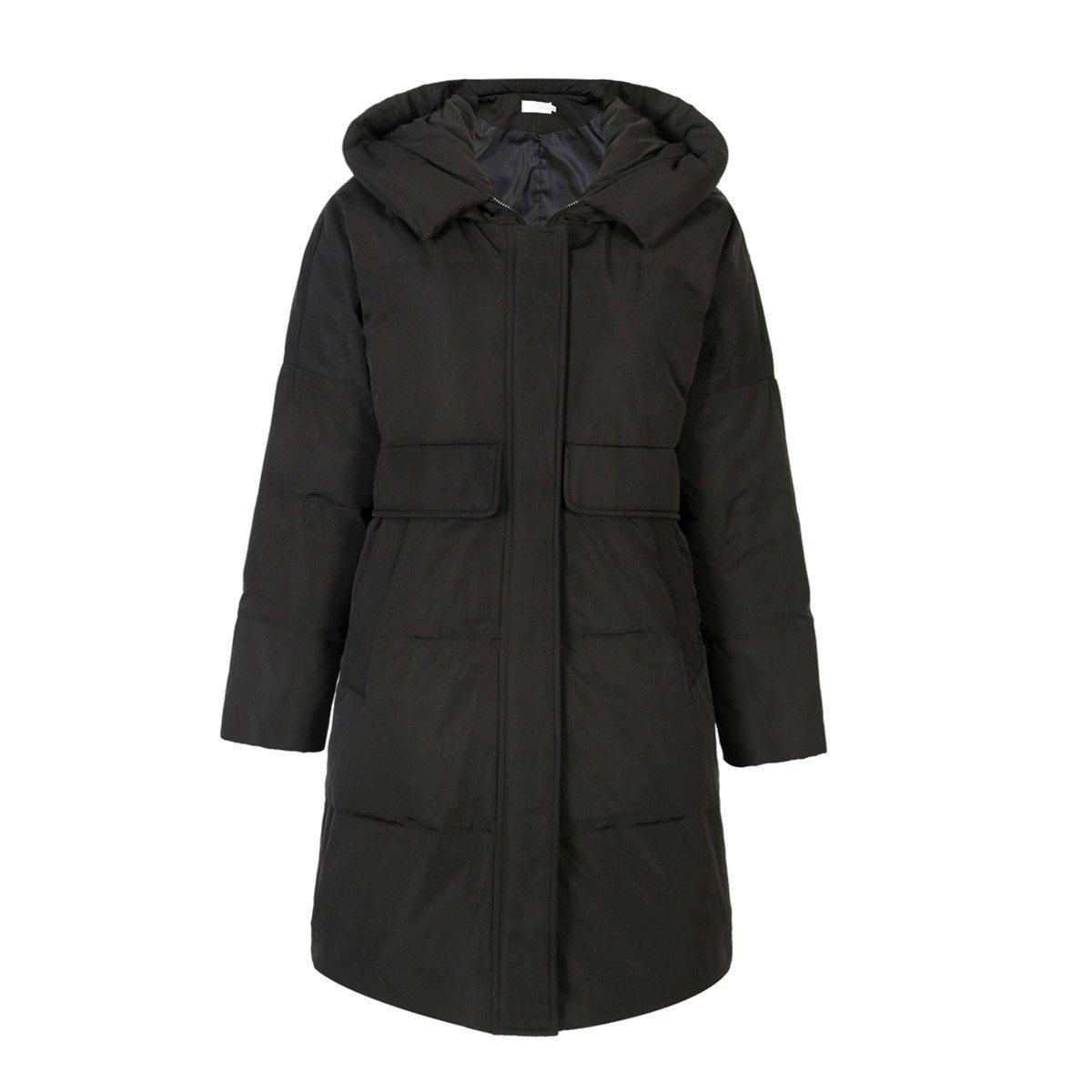 JIEHANS New 2018 Brand Hooded Jacket Women Loose Large Size Jacket Middle Long Section Windbreaker (M, Black)