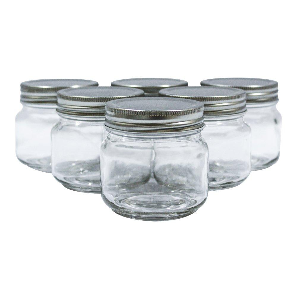 Golden Spoon Mason Jars, With Regular Lids, And Lids for Drinking, Dishwasher Safe, BPA Free, (Set of 6) (8 oz)