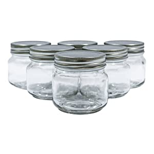 Golden Spoon Mason Jars, With Regular Lids, And Lids for Drinking, Dishwasher Safe, BPA Free, (Set of 6) (8 oz)