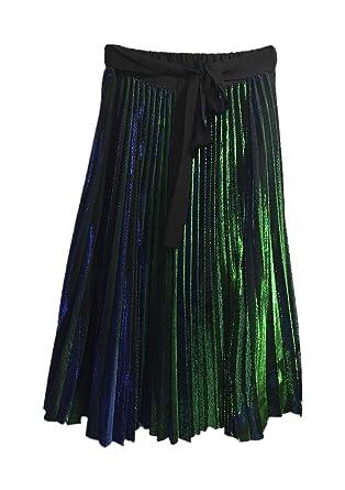 12603c0c52 Blend 4 Thee, Women Long Skirt, Crinkle Pleats (Peacock, L) at ...
