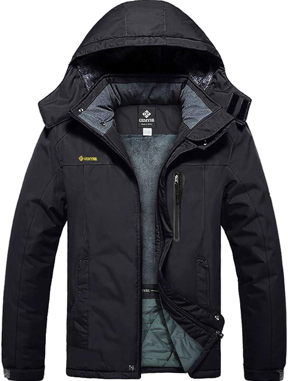 GEMYSE Homme Veste de Ski Imperm/éable de Montagne Manteau dhiver Ext/érieur en Polaire Coupe-Vent avec Capuche