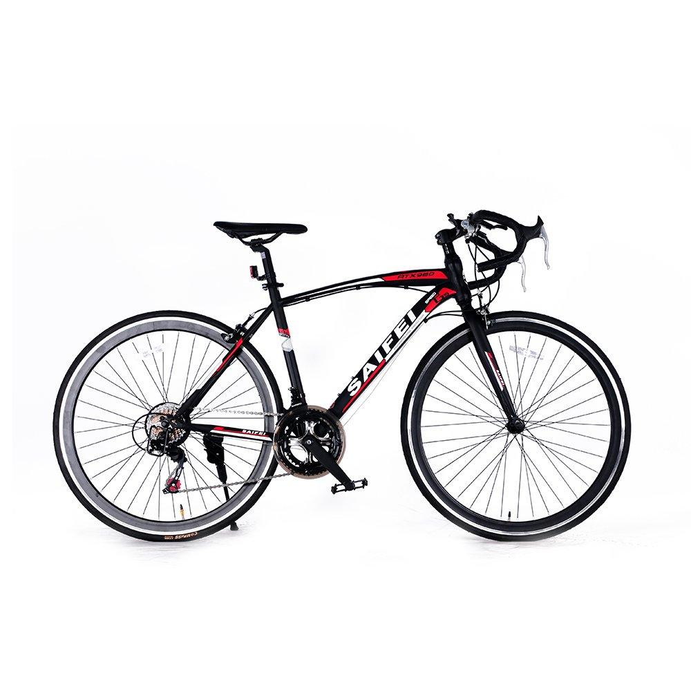 ロードバイク 700C 初心者SD-01自転車 14段変速 男女兼用 通勤通学 軽量 ドロップハンドル B076CF6SLV ブラック ブラック