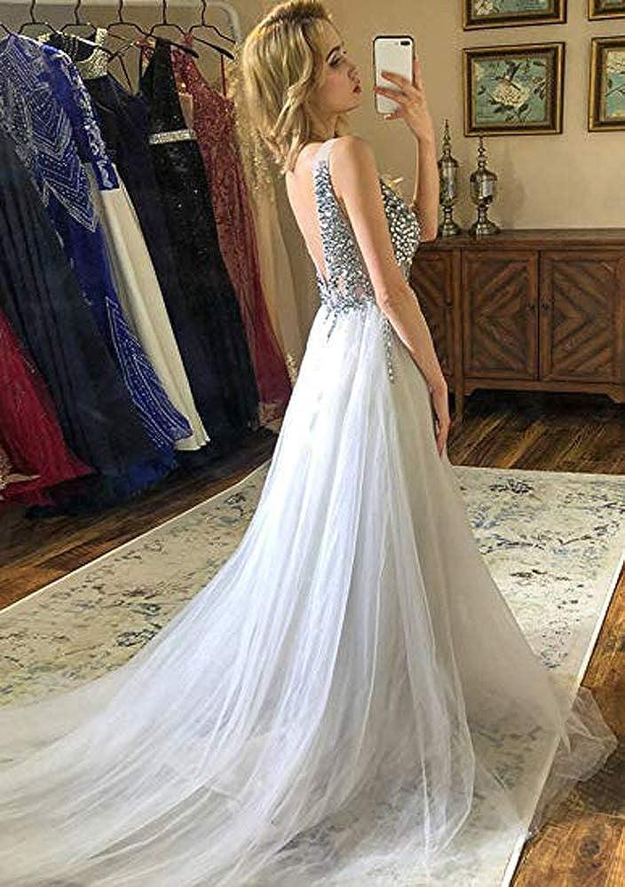 FTBY Beaded Bodice Prom Dress Beading Deep V-Neck Long Tulle High Split Evening Dresses Sequined Gowns