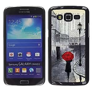 LECELL--Funda protectora / Cubierta / Piel For Samsung Galaxy Grand 2 SM-G7102 SM-G7105 -- Romantic Sad Painting Red Umbrella --