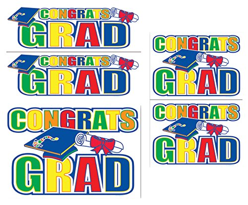 - UHC Congrats Grad Auto Clings Graduation Day Theme Party Supplies Decoration
