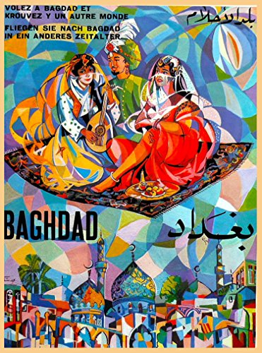 A SLICE IN TIME Fly to Baghdad Iraq Middle East Arab Arabian Vintage Airline Airplane Travel Home Collectible Wall Decor Advertisement Art Poster Print. Measures 10 x 13.5 inches