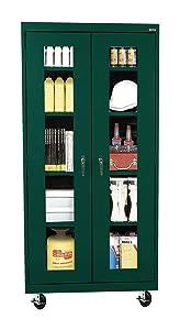 Sandusky Lee TA4V361872-08 Elite Series Transport Mobile Clear View Storage Cabinet, Forest Green