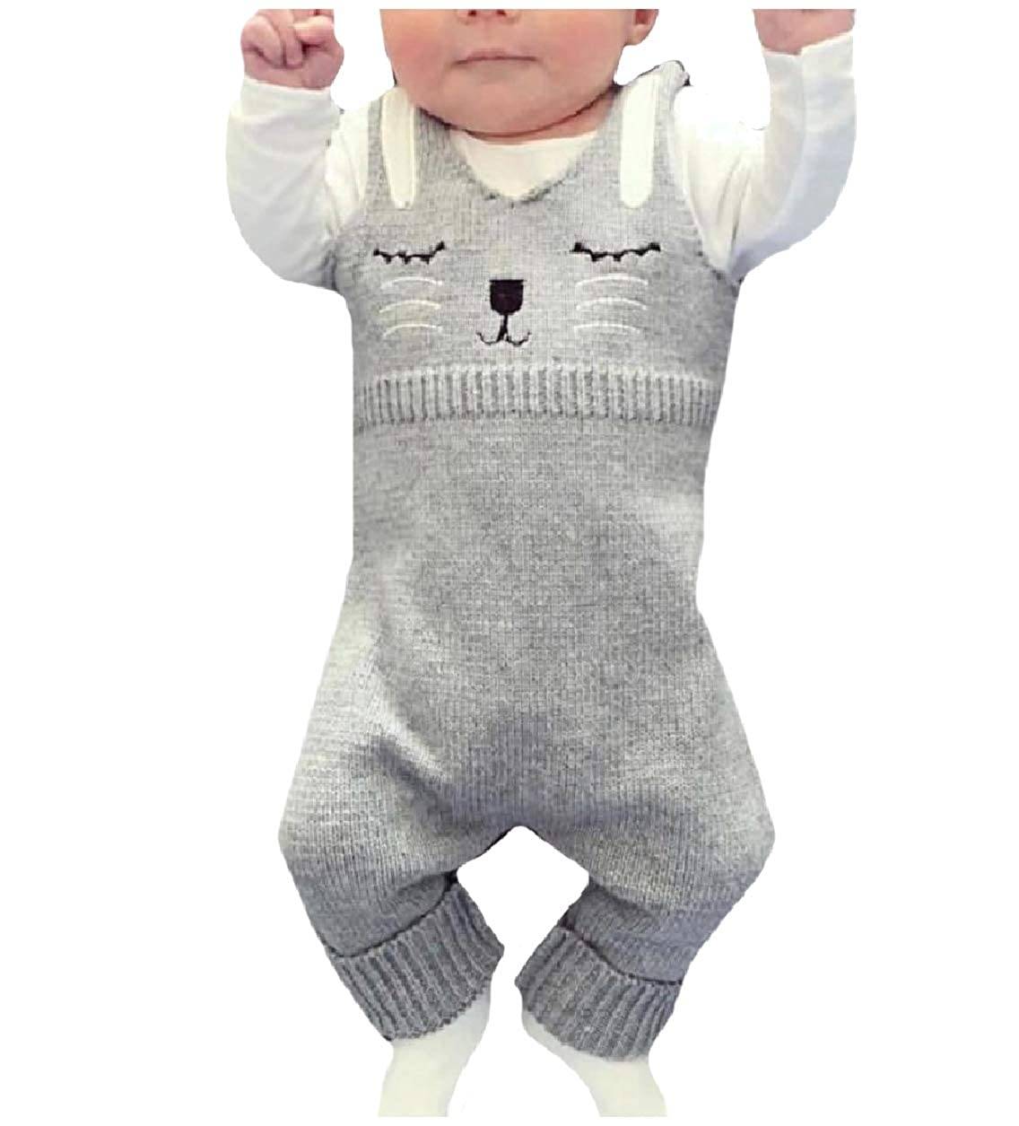 6a6d93babcdb Amazon.com: Abetteric New Baby Knitwear Cartoon Sleeveless Romper Jumpsuit  Outfits Set: Clothing