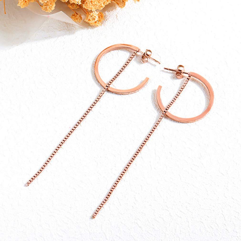 Wonlines Fashion Rose Gold Mini Stainless Steel Chain Ear Line Earrings
