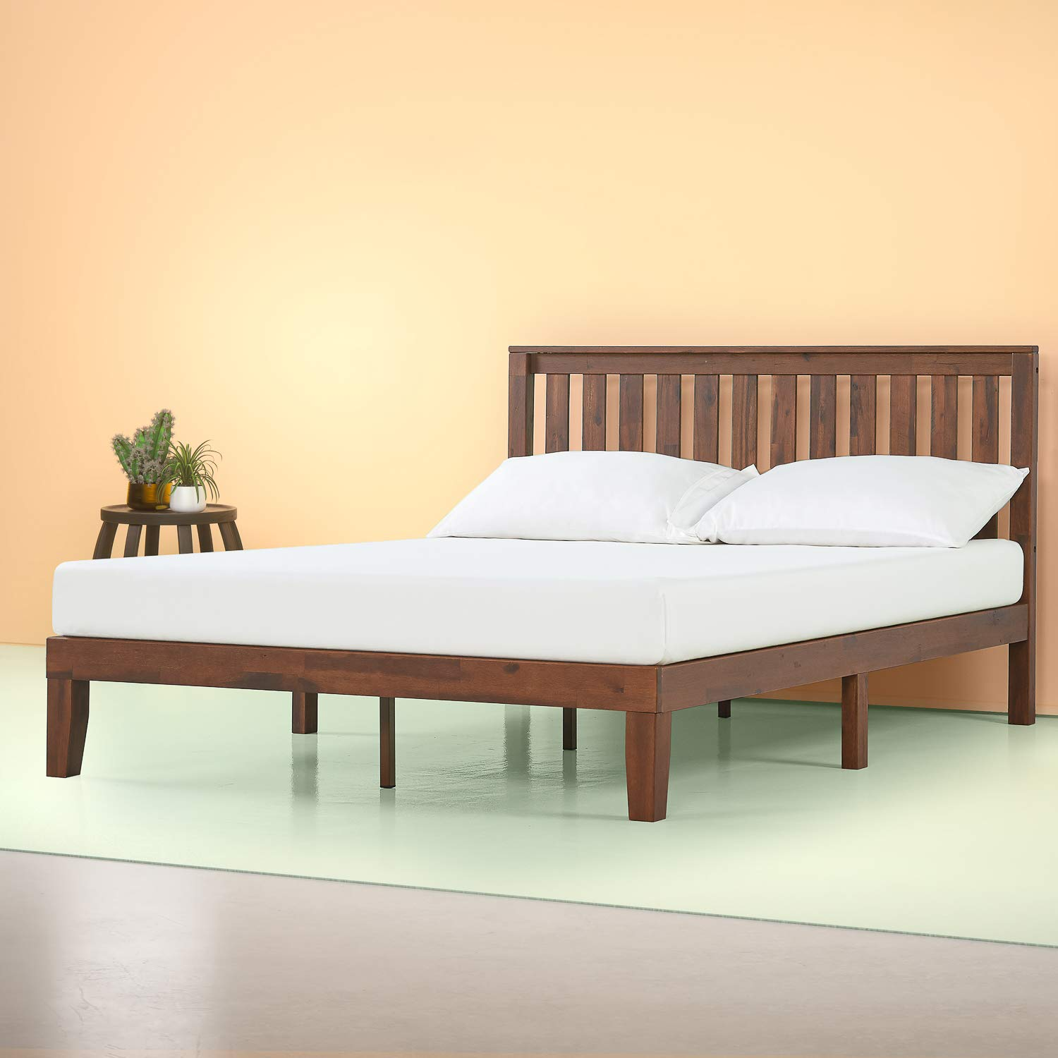 Zinus 12 Inch Solid Wood Platform Bed with Headboard / No Box Spring Needed / Wood Slat Support / Antique Espresso Finish, King by Zinus