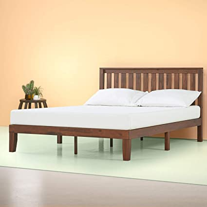 Amazon.com: Zinus 12 Inch Solid Wood Platform Bed With Headboard/No Box  Spring Needed/Wood Slat Support/Antique Espresso Finish, Queen: Kitchen U0026  Dining