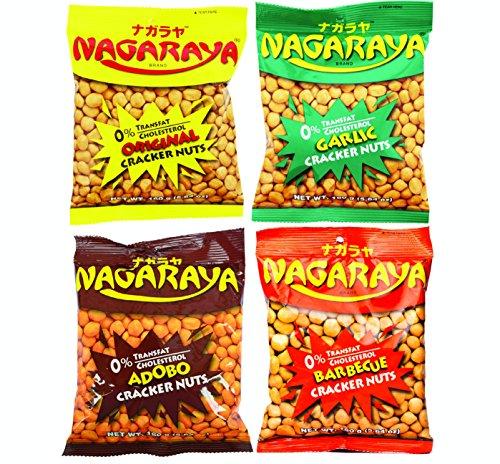 Variety Nagaraya Cracker Nuts, 5.64oz x 4Packs - Adobo, Original, Garlic, Barbecue Flavors