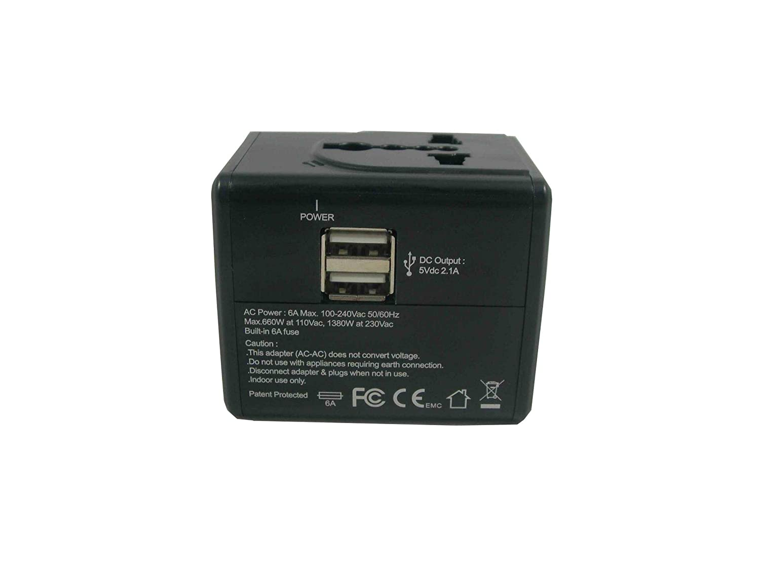 Multi-Nation Travel Adapter with 2.4A Dual USB Charger Black