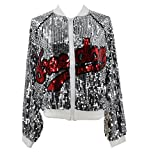 Nite closet Hip Hop Jacket Women Track Jacket Metallic Varsity Jacket (Silver, Size8-10)