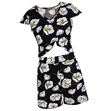 ae1a4f22e57 Baoblaze Womens 2 Pieces Short Sleeve Co Ord Crop Top Shorts Set Lady Party  Holiday Flower