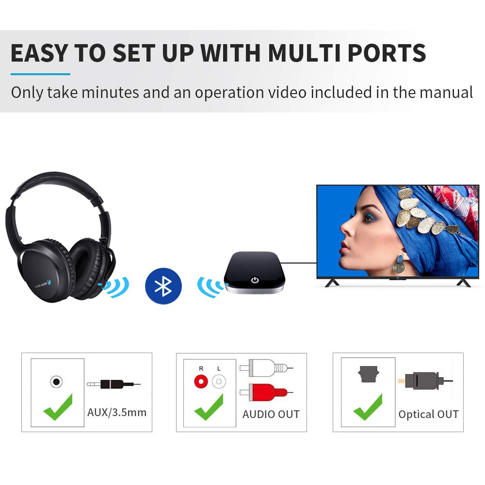TV Headphones, BKM100 Wireless Headphones for TV with Bluetooth Transmitter Receiver Set CSR BC8670 with Optical, Plug Play, Foldable, No Delay, Hi-Fi Stereo Digital Headset for TV Phones PC
