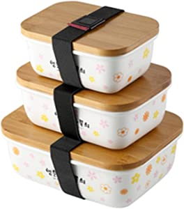 N\C Food Container-Ceramic Rectangular Storage Box with Lid, Lunch Box Can Be Heated by Microwave Oven, Three-Piece Set