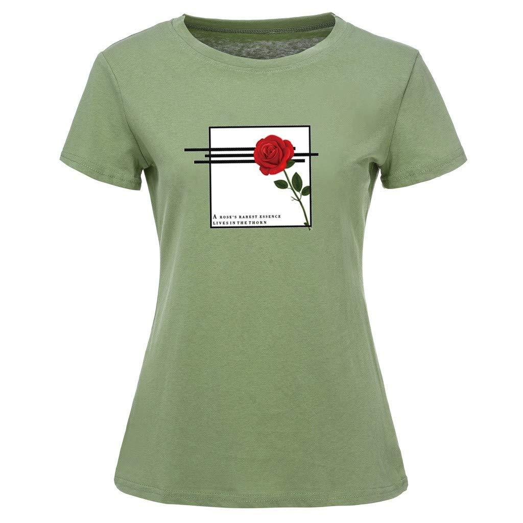 ZOMUSAR Fashion Womens Rose Print O-Neck Short Sleeve Pocket Sack Plus Size Cotton Tee Casual Top