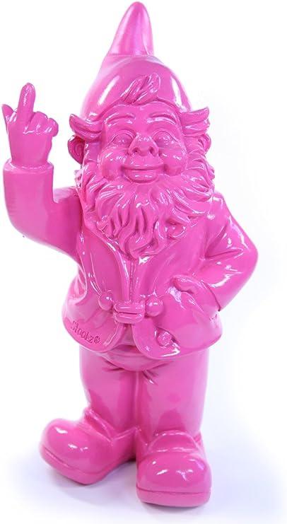 Enano de jardín, frecher – Figura de enanito de jardín Muestra corte de mangas Resina para Jardín y Casa, color rosa – Aprox. 6 cm x 4 cm x 10 cm: Amazon.es: Jardín
