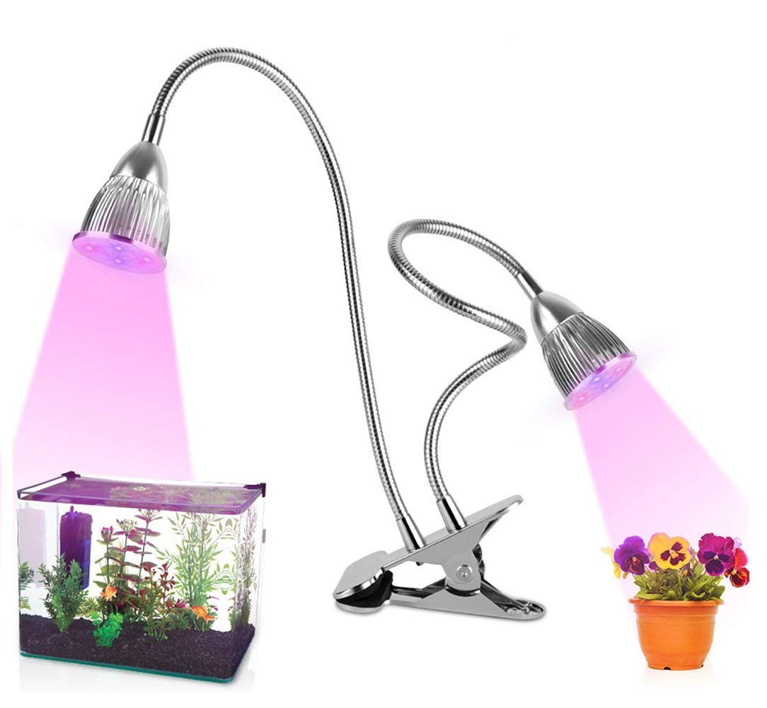 Plant Light, 10W Dual Head LED Grow Lamp with 360° Flexible Gooseneck Grow Lights for Indoor Plants and Hydroponics, 6 Red 4 Blue Lights Accelerate Plant Growth (2018 Upgraded, Double On/Off Switch)