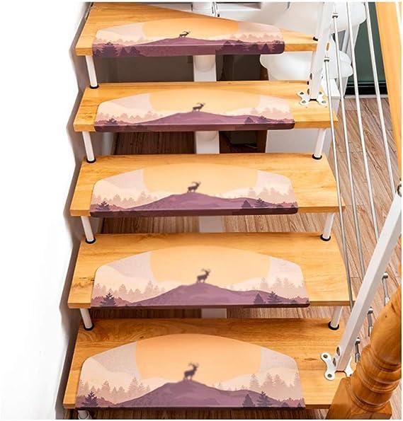 Gyl Alfombras para escaleras Alfombra de Escalera, PVC Curvo Alfombrilla Antideslizante Pegamento Autoadhesivo Sin Pegamento Hogar Madera Maciza Step Mat Step Stickers Alfombras para escaleras: Amazon.es: Hogar