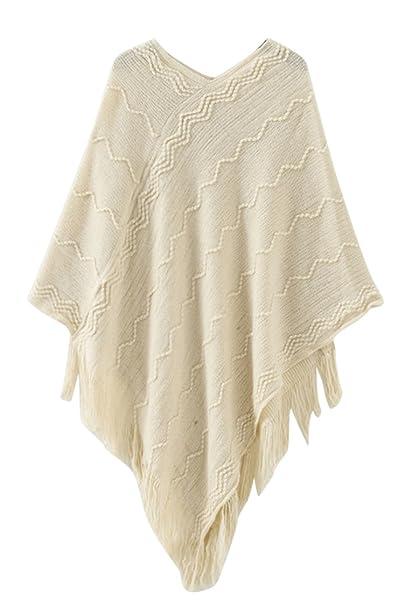 90b1f3e2685b45 Pink Queen Women Beige Knitted Fringe Trim Sweater Poncho Cape Scarf Wrap
