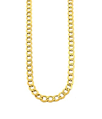 b448fbe0e Amazon.com: Real Solid 10K Yellow Gold Cuban Link Chain Necklace 16
