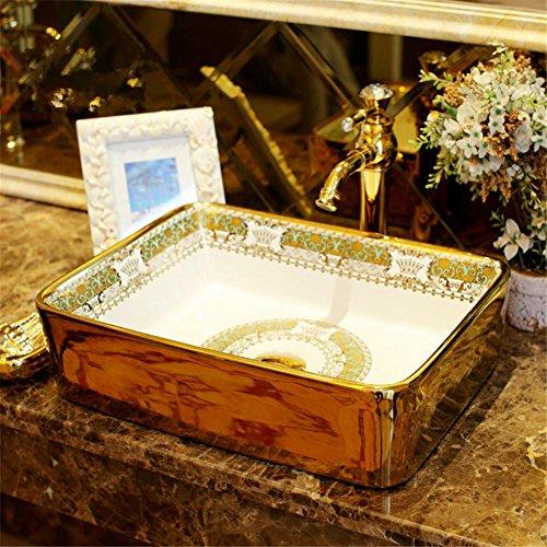 GAOF Luxury gold decorative porcelain vanity bathroom sink countertop rectangular ceramic sink bathroom sink Wash basin Bathroom Sink Basin Bathroom