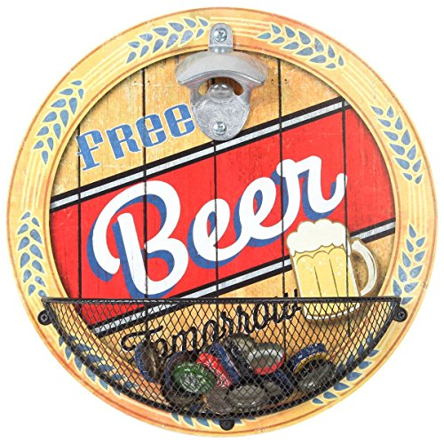 """Lily's Home Vintage-Style Wall Mount Bottle Opener with Cap Catcher, Features Free Beer, Tomorrow Quote, Ideal Father's Day and Christmas Gift for Him (11 1/4"""" Diameter)"""