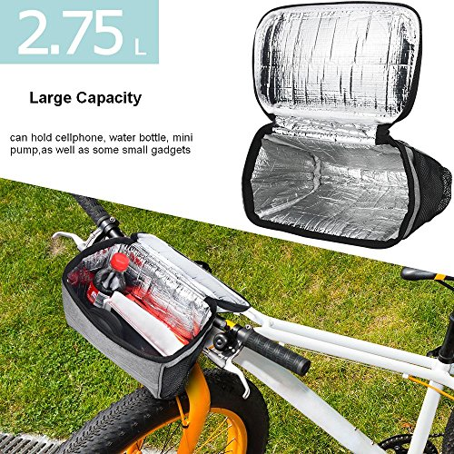 Bicycle BicycleStoreCycling Basket Handlebar Bag with Sliver Grey Reflective Stripe Outdoor Activity Pack Accessories Black 3.5L by Bicycle (Image #1)