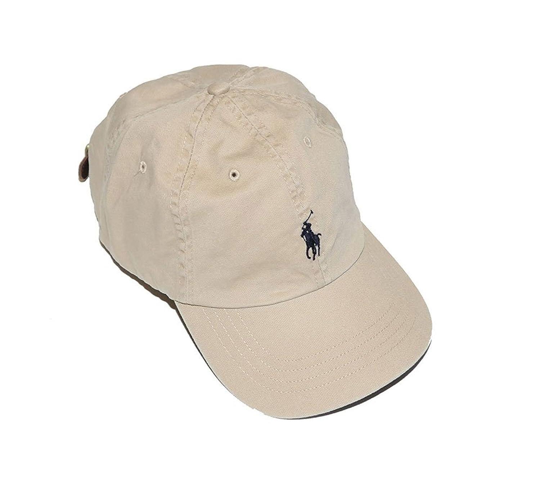 Amazon.com: Boys Polo Ralph Lauren Baseball Cap (Size 8/20) (Classic Khaki/Navy  Blue Logo): Clothing