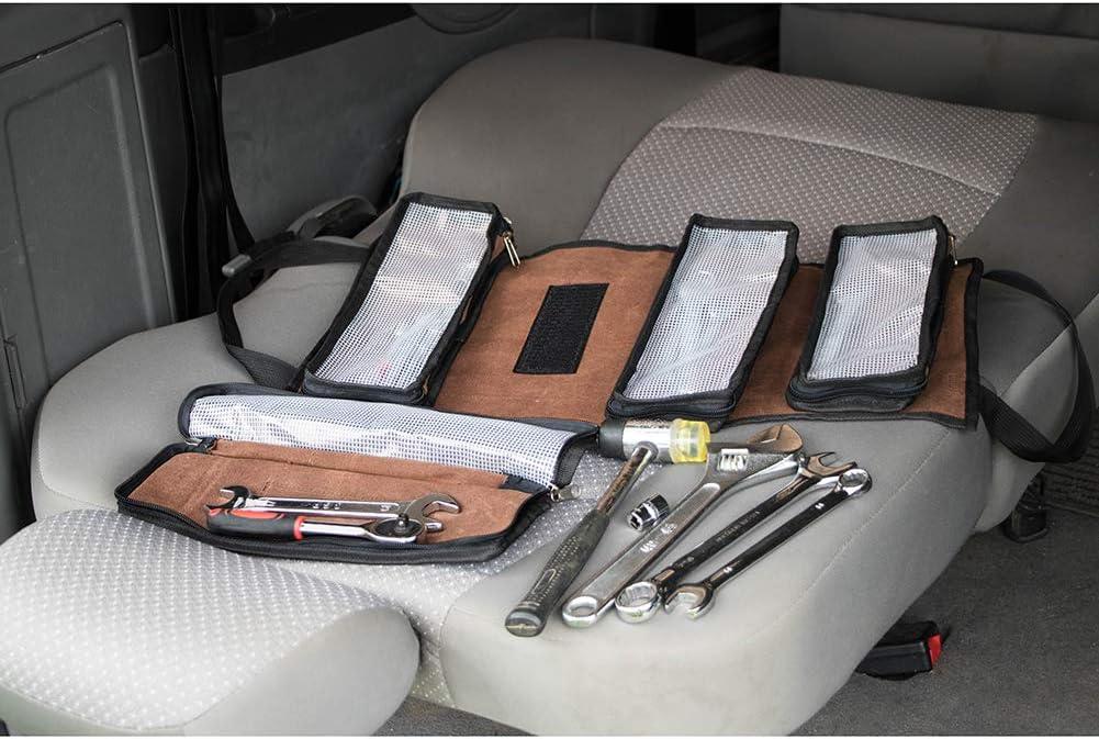 de lona adecuada para coche o acampada Bolsa organizadora de herramientas enrollable gris