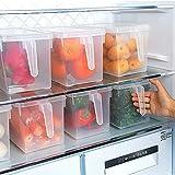 Refrigerator Pantry Organizer Bin, BAMONA 2 Pcs Kitchen Vegetable Fruit Food Holder Storage Freezer Cabinet Box with Lid & Handle
