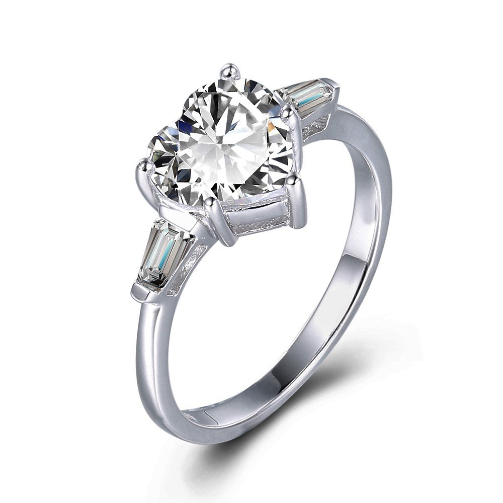 espere Sterling Silver White Gold Plating 2CT CZ Baguette Heart Ring Solitaire Engagement Rings Size 8