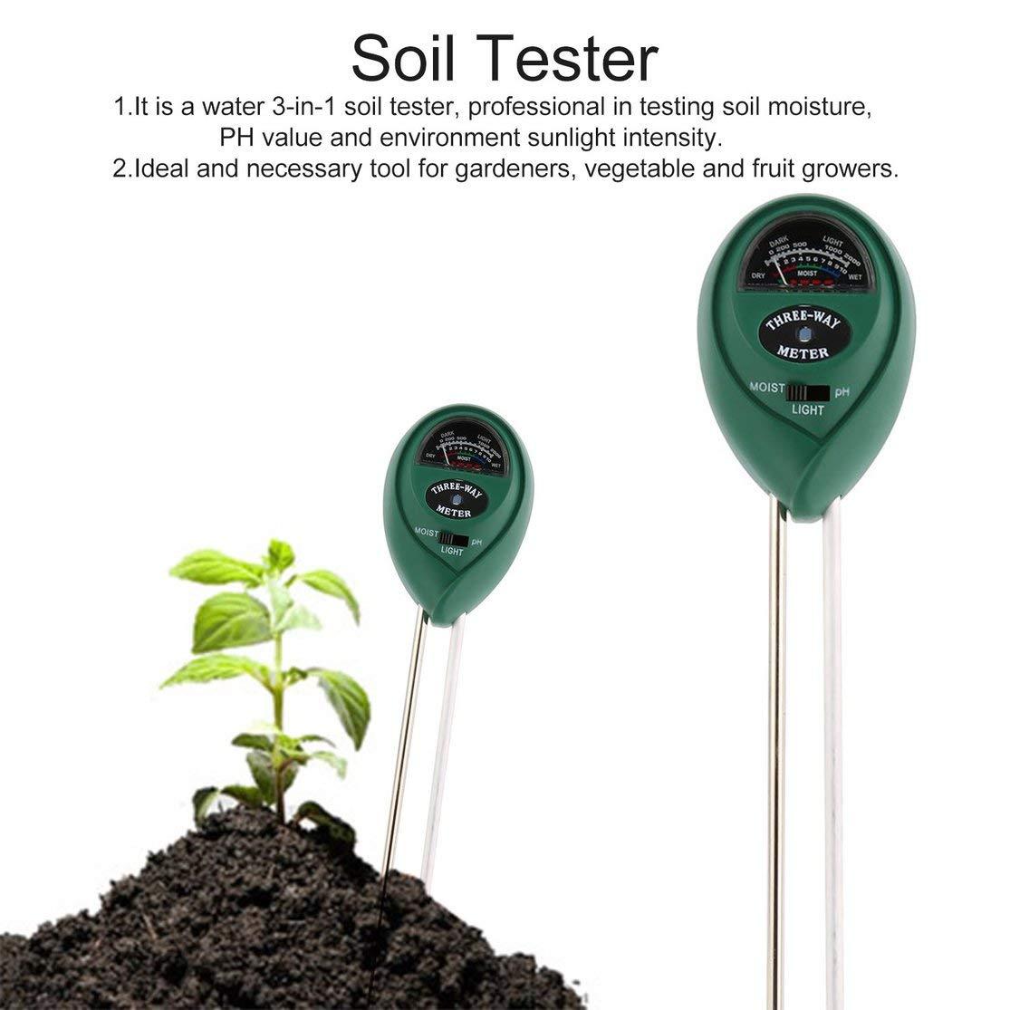 Color: Verde Kaemma Probador de Suelo Punto de visualizaci/ón Medidor de pH Humedad Humedad Probador de luz Solar Monitor para Agricultura Plantas Flores