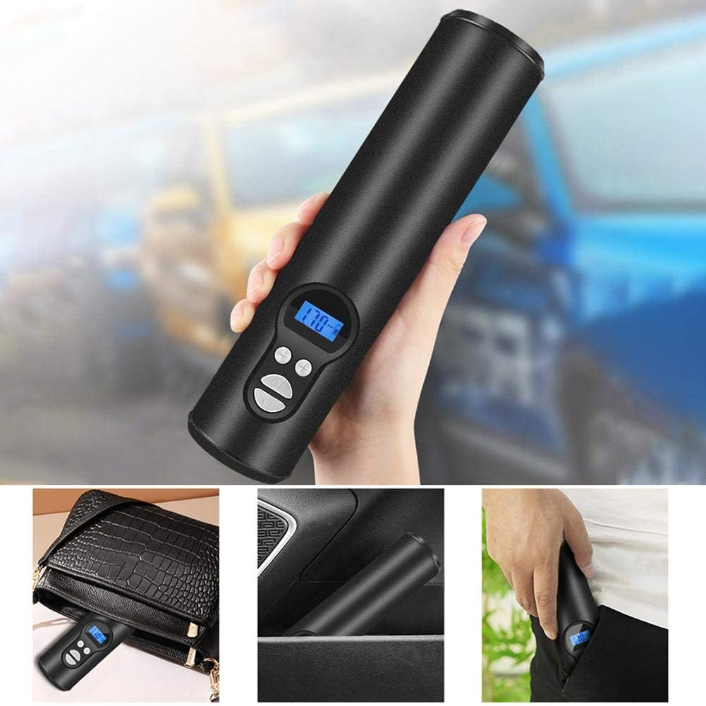 earlyad Bomba de Aire port/átil de Mano con LCD Digital de luz LED Compresor de Aire Mini inflador de neum/áticos para Bicicletas de autom/óviles Neum/áticos Bolas