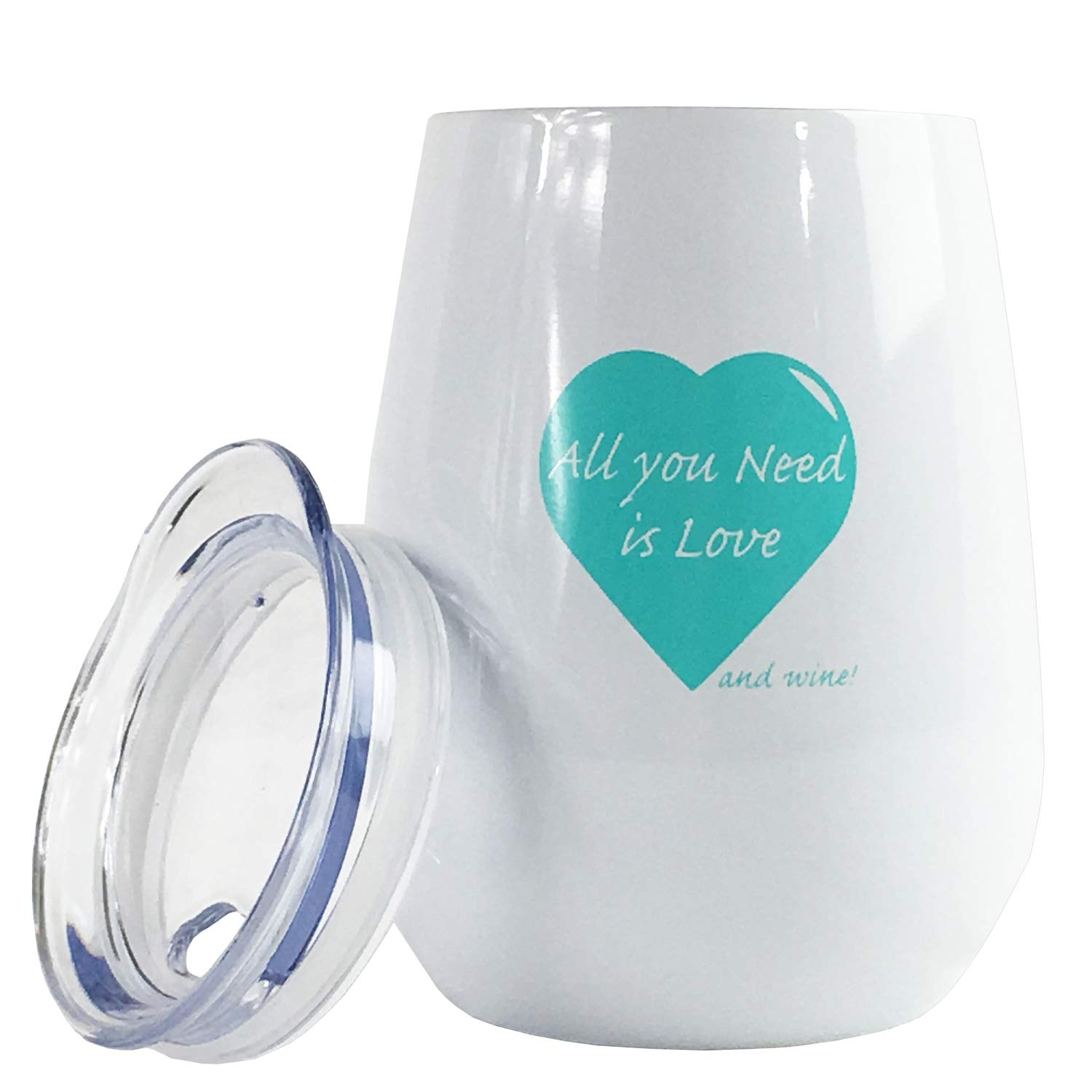 Funny Stainless Steel Wine Tumbler with Lid - All You Need is Love Stemless Wine Glasses Unbreakable and Insulated, 10 oz Teal and Matte Black Tumbler. Funny Wine Gifts for Women