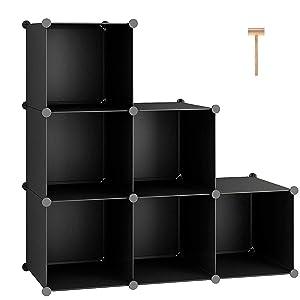 "C&AHOME Cube Storage, 6-Cube Shelves Organizer Unit, DIY Bookshelf, Plastic Closet Cabinet, Modular Bookcase Ideal for Bedroom, Living Room, Home Office, 36.6""L x 12.4"" W x 36.6"" H Black"