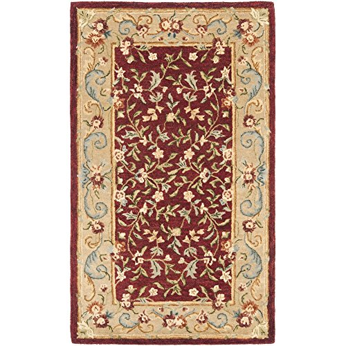 Safavieh Bergama Collection BRG164A Handmade Red and Dark Beige Premium Wool Area Rug (4' x - 4' Bergama Collection