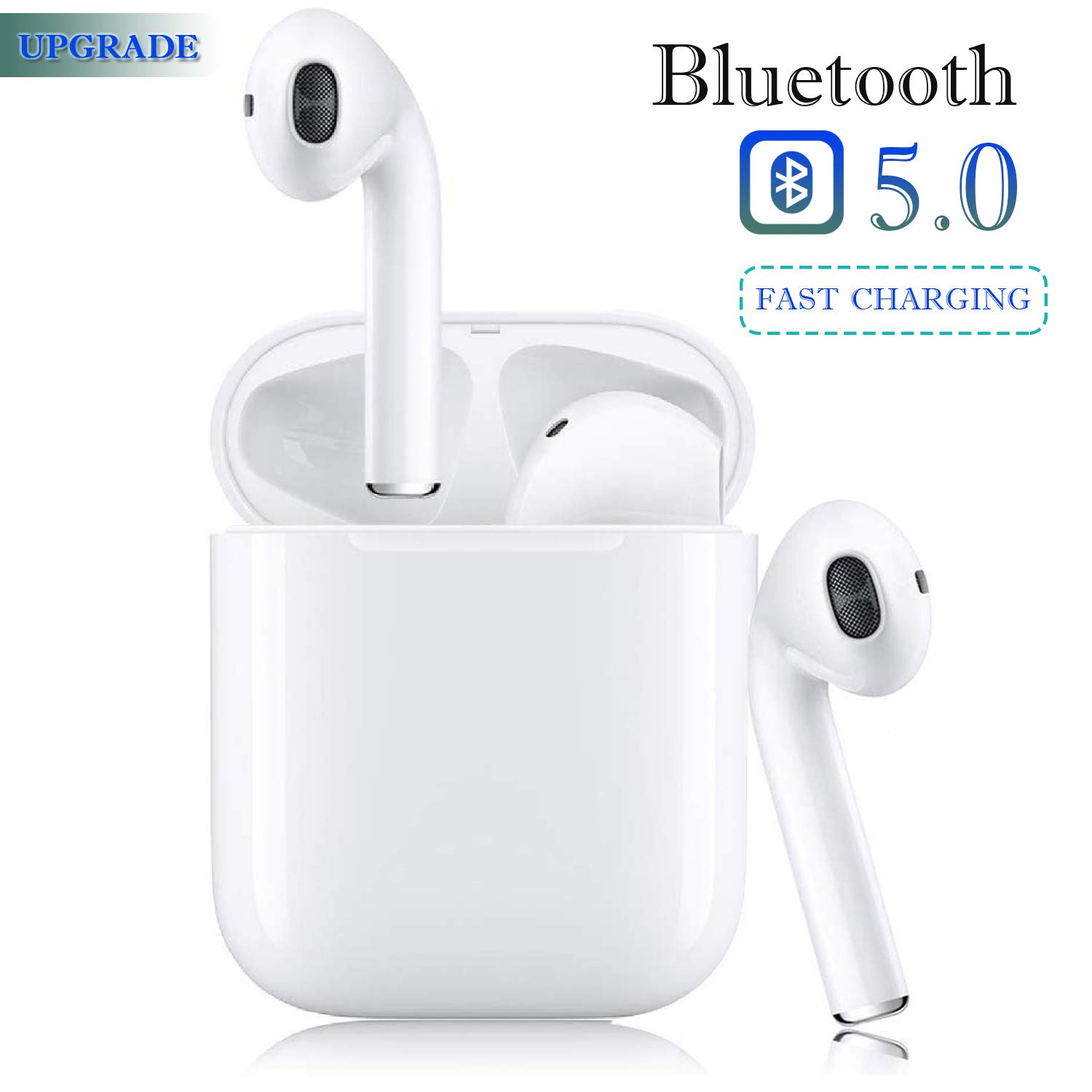 Bluetooth 5.0 Wireless Earbuds Headsets Bluetooth Headphones 24Hrs Charging Case 3D Stereo IPX5 Waterproof Pop-ups Auto Pairing Fast Charging for Earphone Samsung Apple Airpods Sport Earbuds