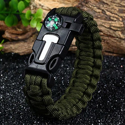2PCS-PACK-Paracord-Survival-Bracelet-with-a-550LB-Parachute-Cord-Fire-Starter-Embedded-Compass-Flint-and-Emergency-Whistle-A-Pack-of-Two-for-Outdoors-Camping-and-Survival-Situations