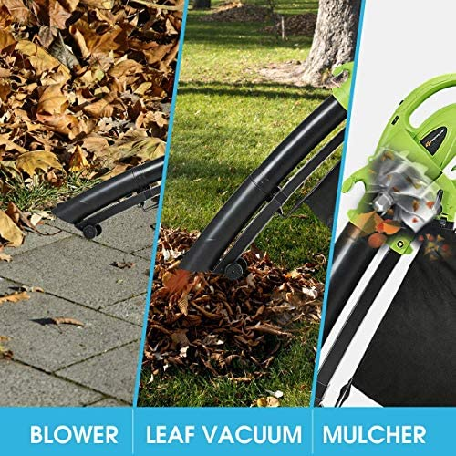 Leaves /& Snow Goplus 3-in-1 Electric Leaf Blower//Vacuum//Mulcher Lightweight Corded Kit with Disposable Collector for Clearing Dust 7.5AMP Green 170MPH