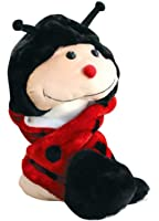 Plush Faux Fur Animal Critter Hat Cap - Soft Warm Winter Headwear - Short with Ear Poms and Flaps & Long with Scarf and Mittens available (Ladybug - 3pc Scarf & Mittens)