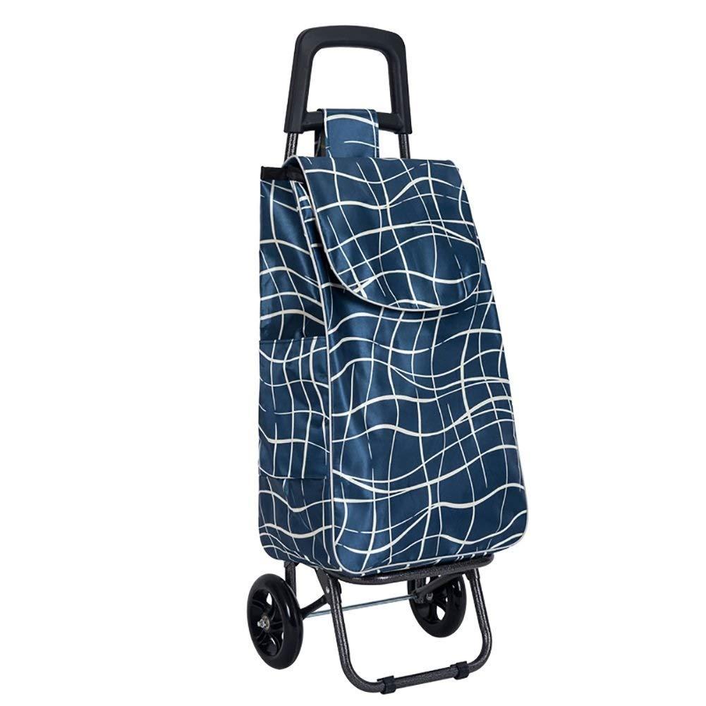 TYUIO 軽量折りたたみランドリー、ショッピング、食料品、ユーティリティトロリー、折りたたみ式カート、車輪付きプルカート、トート付きローリング (色 : A)  A B07QKYJYWZ