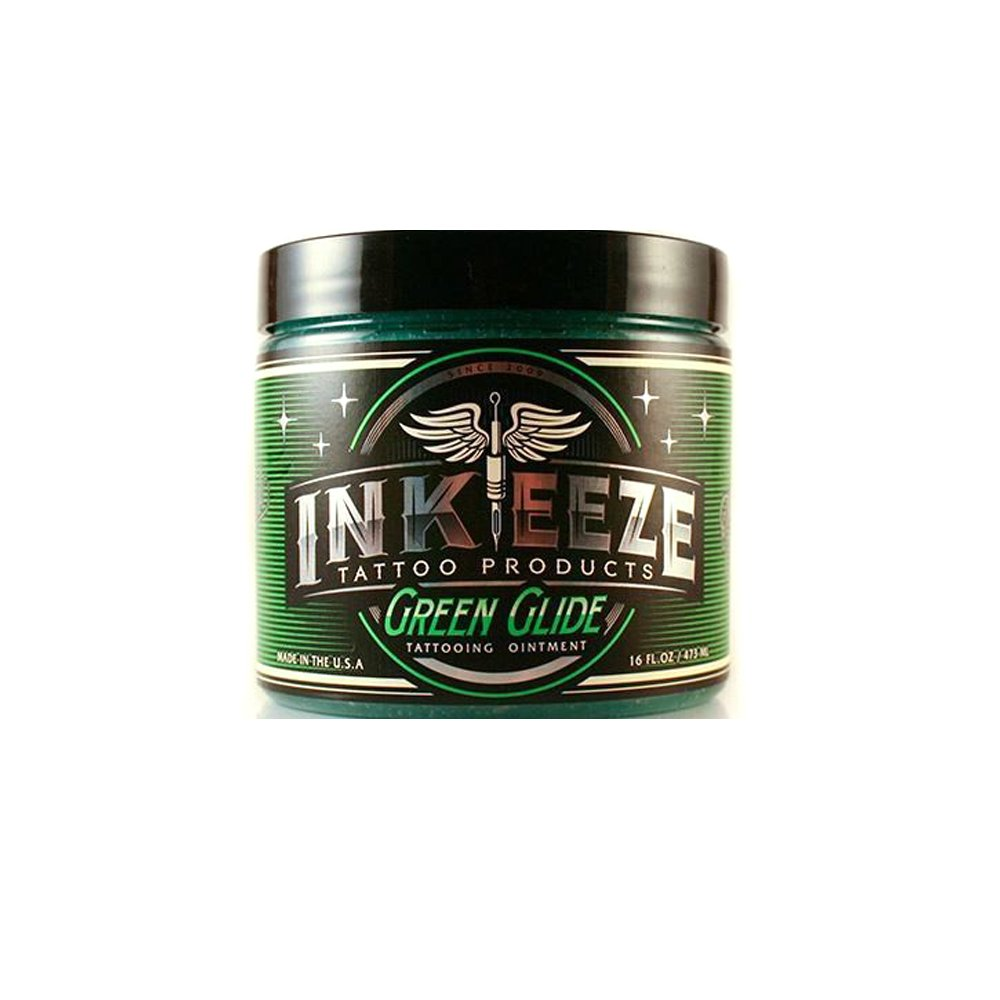 INK-EEZE Green Glide Botanical Extract Aftercare Tattoo Ointment 16oz Jar
