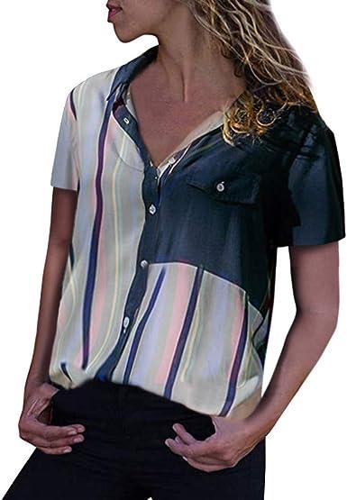 Camisa de Seda para Mujer, Talla Grande, con Botones de Rayas ...