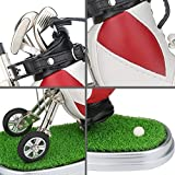 Mini Desktop Golf Bag Pen Holder with Lawn Base and Golf Pens 3-Piece Set of Golf Souvenir Tour Souvenir Novelty Gift for Golfer,Father,Boyfriend (red and white)