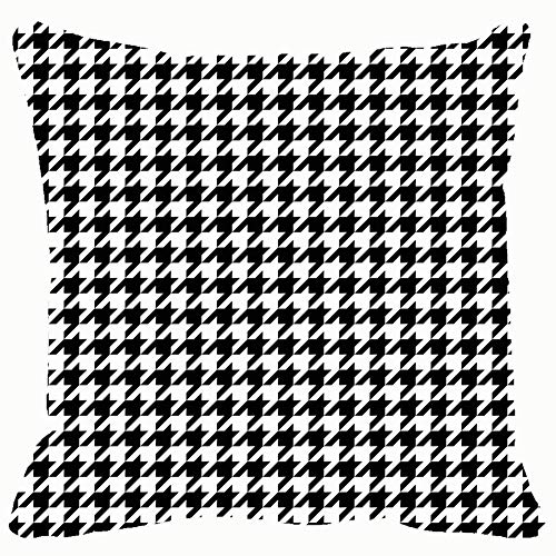 Large beach pants Throw Pillow Cushion Cover, Black White Houndstooth Tartan Decorative Square Accent Pillow Case, 18 X 18 Inch ()